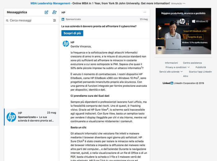 Contenuti sponsorizzati LinkedIn InMail