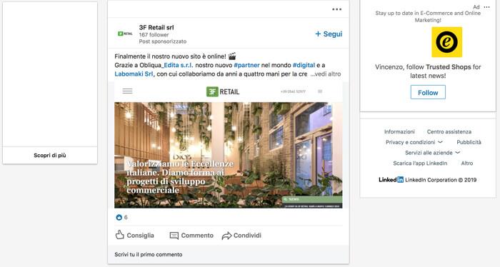 Contenuti sponsorizzati LinkedIn ADS